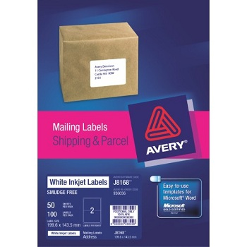 Avery inkjet mailing labels for Avery 8168 template